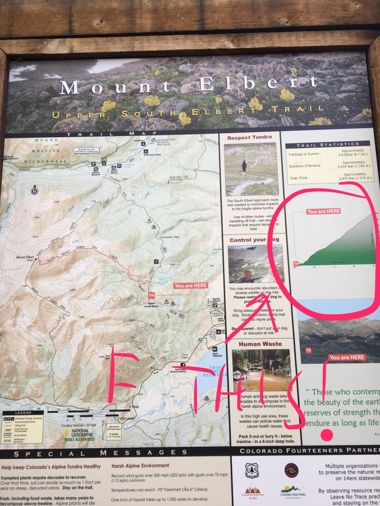 Importantly, the sign says the summit trail is 3.8 miles. Both 14ers.com and my Suunto suggest it's closer to 5 miles, probably due to the recent rerouting. I sent this pic to my brother.